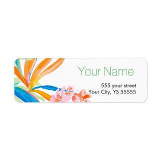 Tropical Bird of Paradise Flower Watercolor Design Label