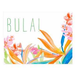 Tropical Bird Of Paradise Watercolor Bula! Fiji Postcard