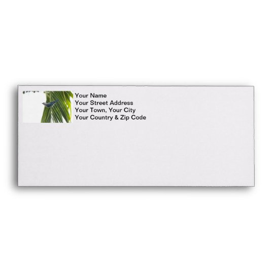 Tropical Bird Picture on Palm Tree Envelope