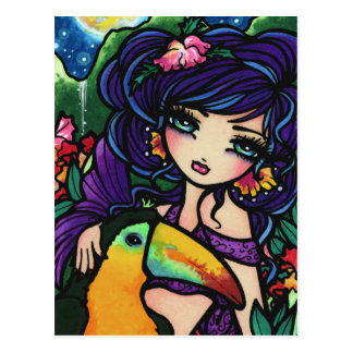 Tropical Bird Waterfall  Mermaid Fantasy Art Girl Postcard