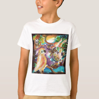 Tropical Birds at Full Moon Paradise Silk Painting T-Shirt