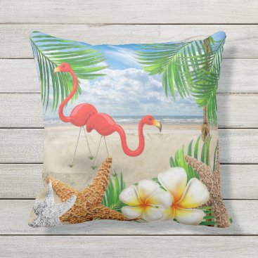 Beach Themed Tropical Birds at the Beach Outdoor Pillow