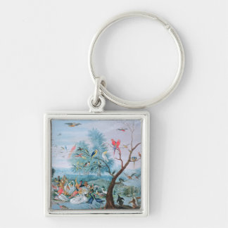 Tropical birds in a landscape Silver-Colored square keychain