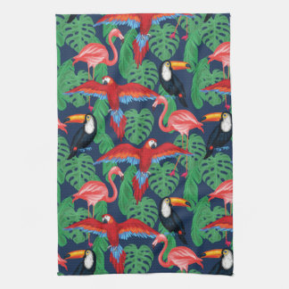 Tropical Birds In Bright Colors Kitchen Towel