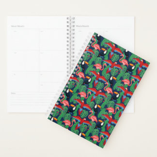 Tropical Birds In Bright Colors Planner