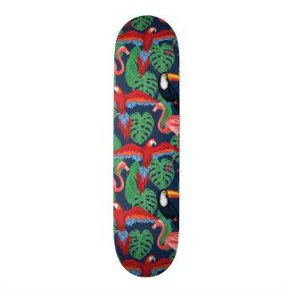 Tropical Birds In Bright Colors Skateboard