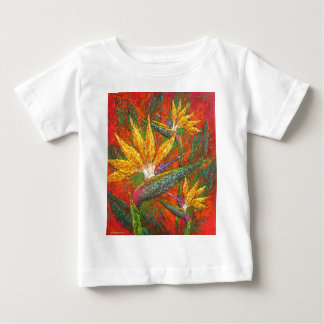 Tropical Birds Of Paradise Flowers Painting Art Baby T-Shirt