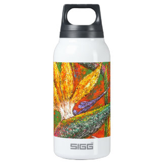 Tropical Birds Of Paradise Flowers Painting Art Insulated Water Bottle