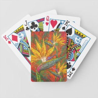 Tropical Birds Of Paradise Flowers Painting Art Poker Cards