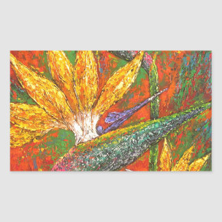 Tropical Birds Of Paradise Flowers Painting Art Rectangular Sticker