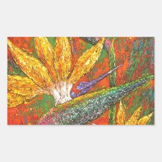 Tropical Birds Of Paradise Flowers Painting Art Rectangular Sticker