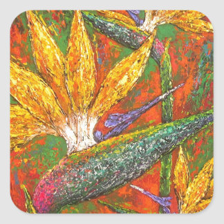 Tropical Birds Of Paradise Flowers Painting Art Square Sticker