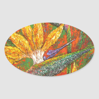 Tropical Birds Of Paradise Flowers Painting Art Oval Sticker
