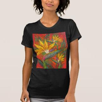Tropical Birds Of Paradise Flowers Painting Art T-Shirt