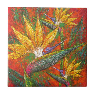 Tropical Birds Of Paradise Flowers Painting Art Small Square Tile