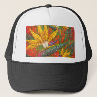 Tropical Birds Of Paradise Flowers Painting Art Trucker Hat