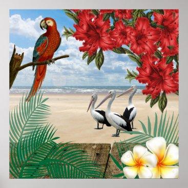 Beach Themed Tropical  Birds on the Beach Poster
