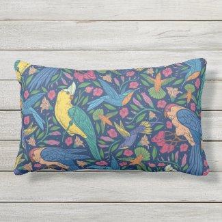 Tropical Birds Seamless Print Lumbar Pillow