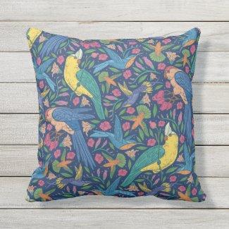 Tropical Birds Seamless Print Pillow 16x16