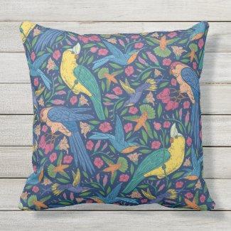 Tropical Birds Seamless Print Pillow 20x20