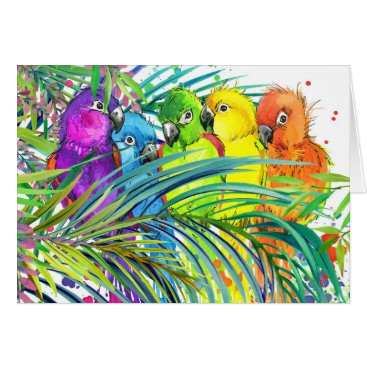 Beach Themed Tropical Birds Thank You or Blank Note Card