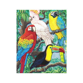 Tropical Birds Wrapped Canvas