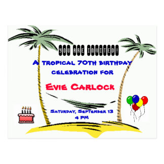 Tropical Birthday party invitation Postcard