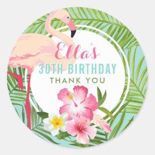 Tropical Birthday Party Pink Flamingo Thank You Clic Round Sticker