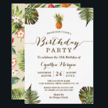"""Tropical Birthday Party -  Summer Pineapple Leaves Invitation<br><div class=""""desc"""">Tropical Leaves Pineapple Summer Birthday Party Invitation. (1) For further customization, please click the """"customize further"""" link and use our design tool to modify this template. (2) If you prefer Thicker papers / Matte Finish, you may consider to choose the Matte Paper Type. (3) If you need help or matching...</div>"""