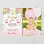 """Tropical Birthday Thank You Card Luau Flamingo<br><div class=""""desc"""">♥ A beautiful way to thank your guests!</div>"""