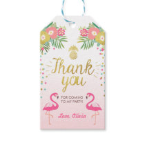 Tropical Birthday thank you tags Flamingo Luau