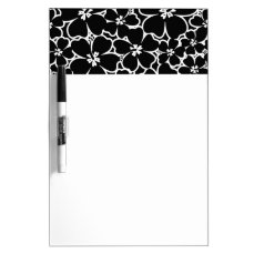 Tropical black and white hibiscus dry erase board