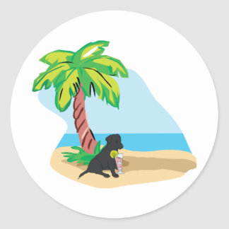 tropical black lab classic round sticker