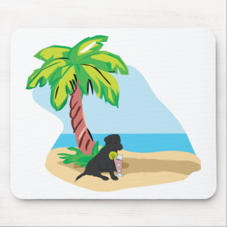 tropical black lab mouse pad