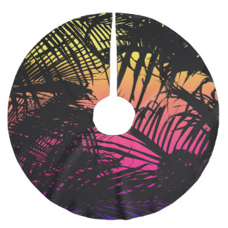 Tropical Black Palm Fronds on Pink, Orange, Yellow Brushed Polyester Tree Skirt