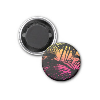 Tropical Black Palm Fronds on Pink, Orange, Yellow Magnet