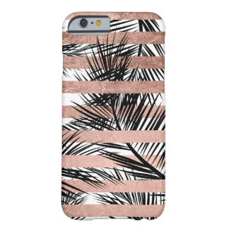 Tropical black palm trees chic rose gold stripes barely there iPhone 6 case