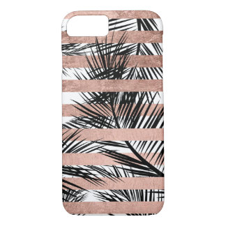 Tropical black palm trees chic rose gold stripes iPhone 7 case