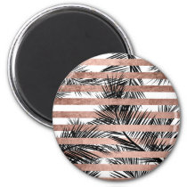 Tropical black palm trees chic rose gold stripes magnet