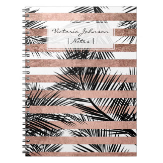Tropical black palm trees chic rose gold stripes notebook
