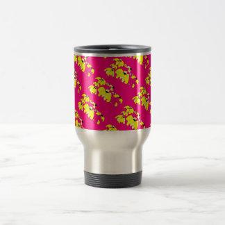 Tropical Block hot pink and yellow HEVi FineArt Travel Mug