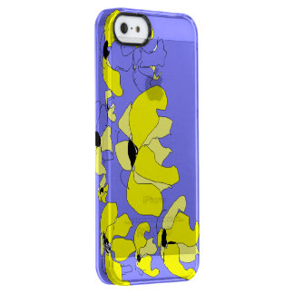 Tropical Block lilac and yellow floral pattern Clear iPhone SE/5/5s Case