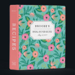 """Tropical Blooms Bridal Shower Recipe Mini Binder<br><div class=""""desc"""">Collect recipes for the bride to be and organize them in this sweet floral binder with tons of personalization options! Bright and colorful binder features a tropical floral pattern in vibrant pink, coral and lush green on a turquoise teal background. Customize the front with the bride to be&#39;s name and...</div>"""