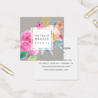 Tropical Blossoms Square Business Card