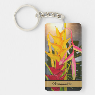 Tropical Blossums Painting Key Chain