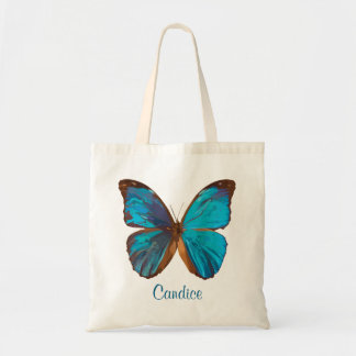Tropical Blue and Turquoise Gem Colored Butterfly Tote Bag