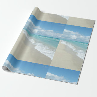 Tropical Blue Beach Scene Wrapping Paper