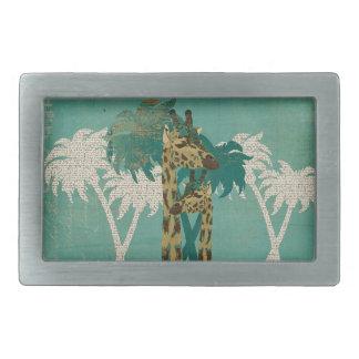 Tropical Blue Boho Giraffes Belt Buckle