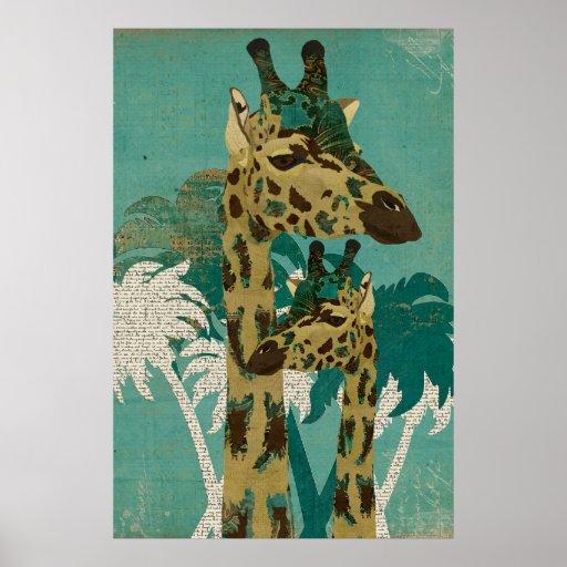 Tropical Blue Boho Giraffes Retro  Art Poster
