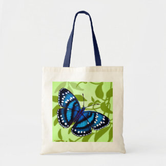 Tropical Blue Butterfly Tote Canvas Bag